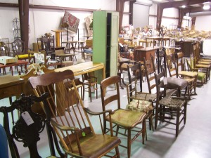 Chairs and other furniture at an auction in Tennessee