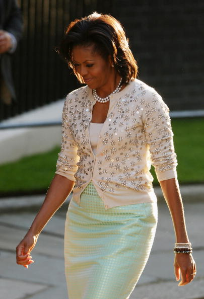 LONDON, ENGLAND - APRIL 01:  First lady Michelle Obama arrives in Downing Street on April 1, 2009 in London. Obama is on his first trip to the UK as President and will be attending G20 world leaders' summit dedicated to tackling the global financial crisis.  (Photo by Dan Kitwood/Getty Images)