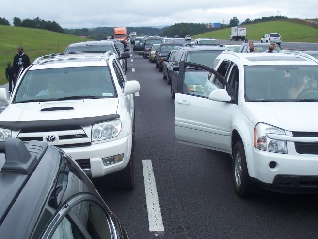 Interstate traffic jam